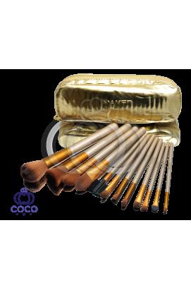 Набор кистей для макияжа Naked 12 шт в золотом кошельке