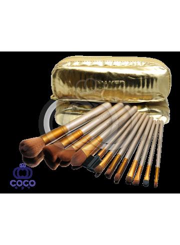 Набор кистей для макияжа Naked 12 шт в золотом кошельке фото
