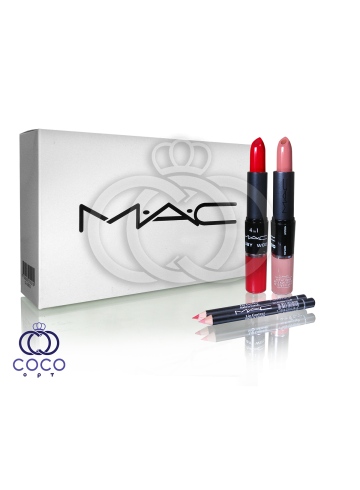 Помада Mac Ruby Woo Velvet Creme Lipstick Lipgloss & Lipliner 4 в 1 Creamy Textur фото