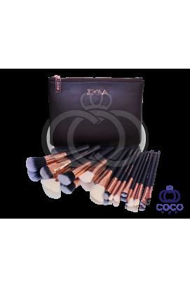 Набор кистей Zoeva (15 кистей) в клатче шоколадного цвета