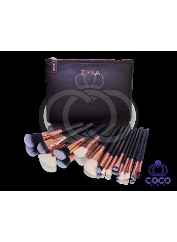 Набор кистей Zoeva (15 кистей) в клатче шоколадного цвета фото