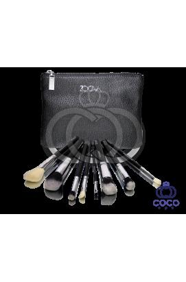 Профессиональный набор кистей для макияжа Zoeva 8 штук в чёрном клатче