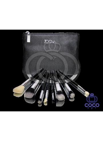 Профессиональный набор кистей для макияжа Zoeva 8 штук в чёрном клатче фото
