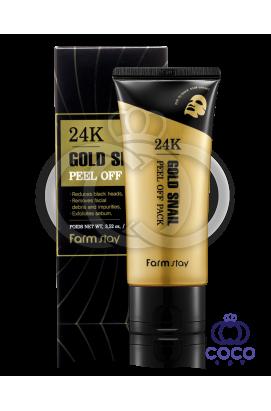 Маска-пленка FarmStay 24K Gold Snail Peel Off Pack с золотом и муцином улитки