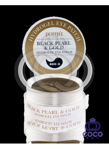 Патчи гидрогелевые  PETITFEE Black Pearl & Gold Hydrogel Eye Patch с черным жемчугом и золотом фото