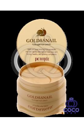 Патчи гидрогелевые  PETITFEE Gold & Snail с золотом и муцином улитки